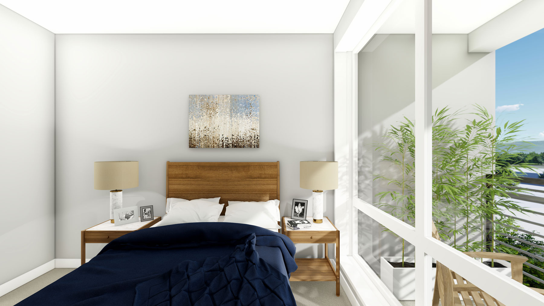 A rendering of one of the bedrooms in a unit
