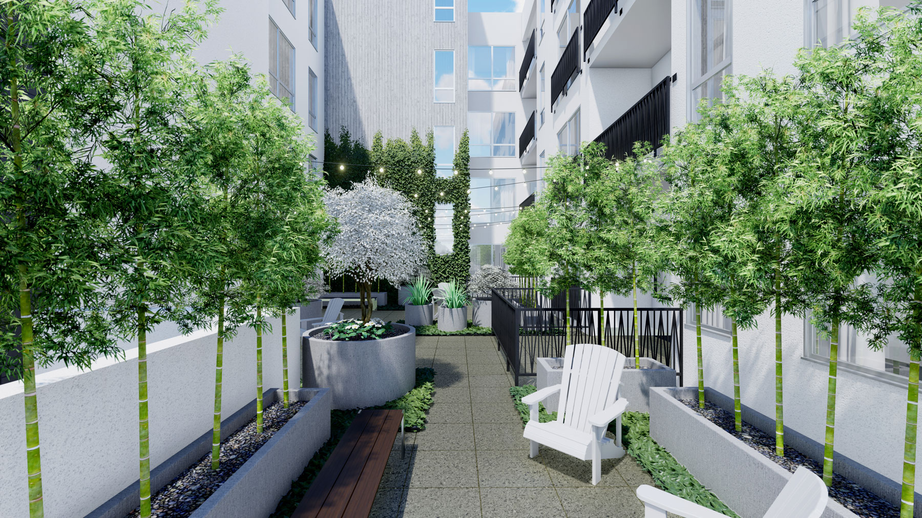 A rendering of the exterior courtyard of the building showing greenery and seating