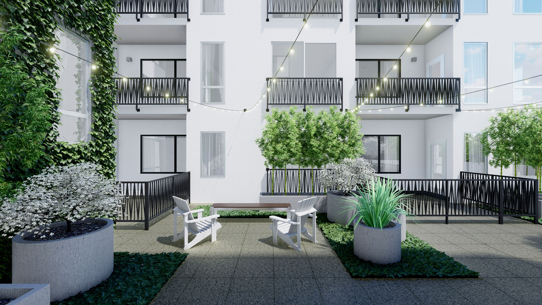 A rendering of the courtyard showing greenery and outdoor seating