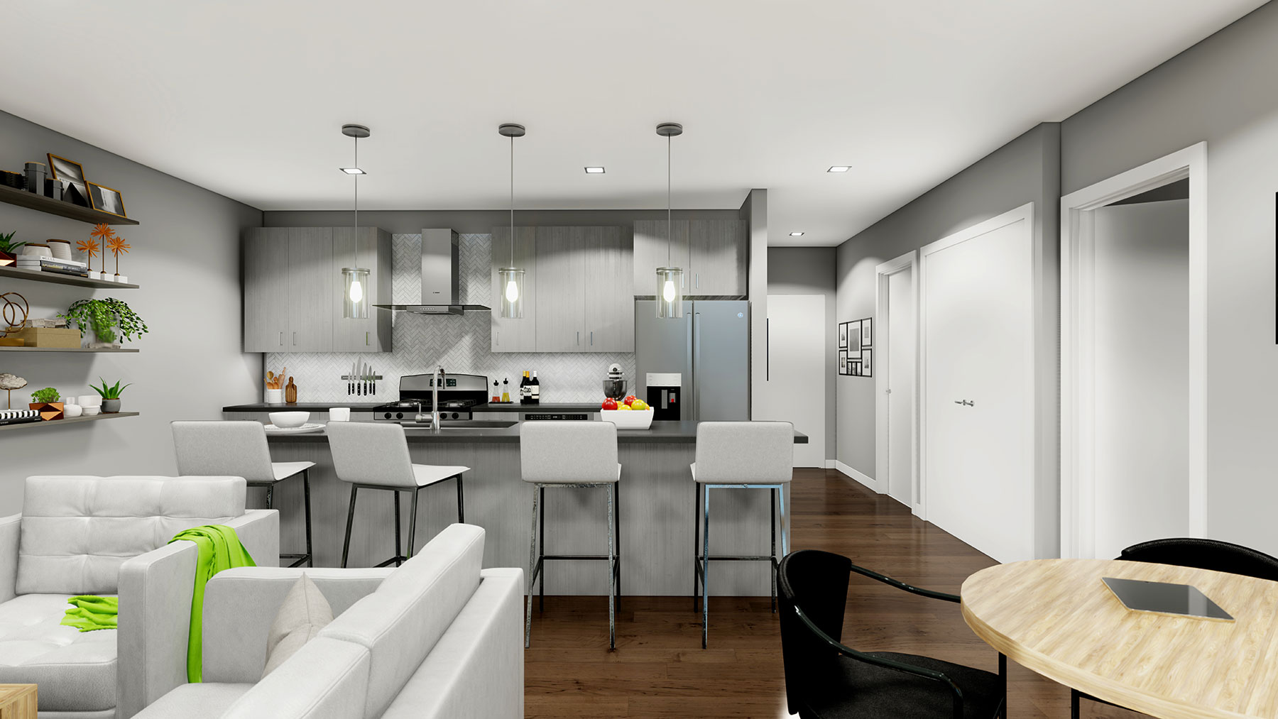 A rendering of a unit kitchen as seen from the living room