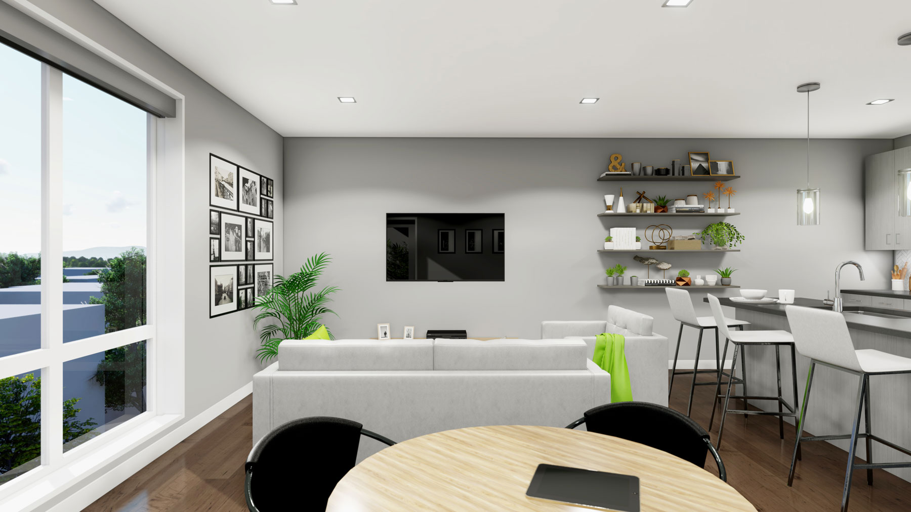 A rendering of the living room in one of the units