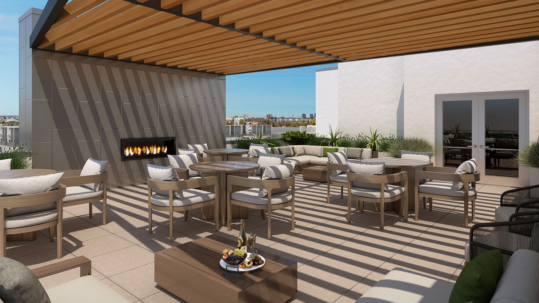 A rendering of the rooftop patio.